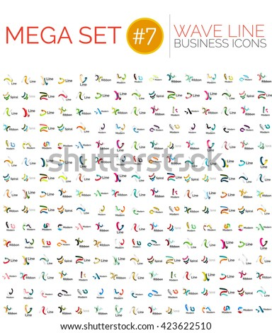 Logo mega collection, abstract geometric business icon set - wave lines - stock vector