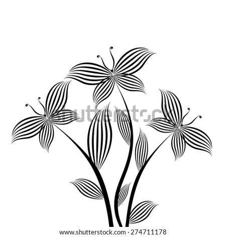 logo monochrome flower with butterfly. Vector - stock vector