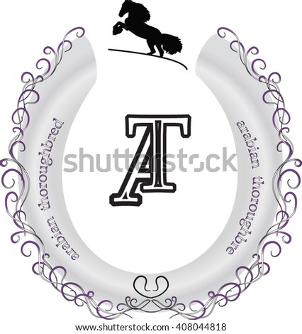 logo, monogram, vintage, horse breed - stock vector