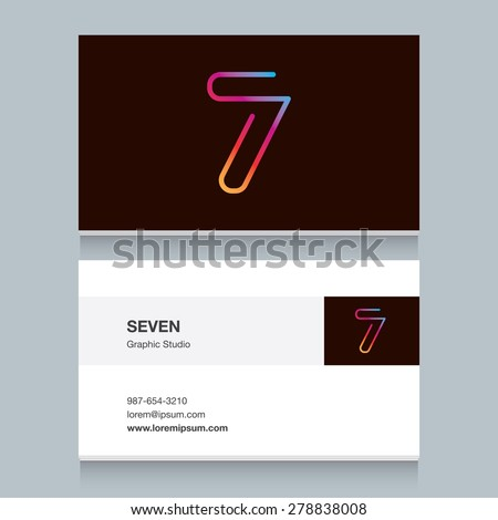 "Logo number seven ""7"", with business card template. Vector design fully editable.  - stock vector"