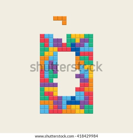 "Logo number ""0"", video game pixel style. Editable vector design.  - stock vector"