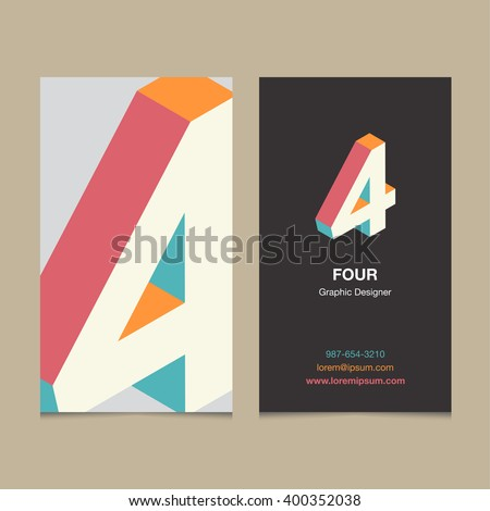 "Logo number ""4"", with business card template. Vector graphic design elements for company logo. - stock vector"