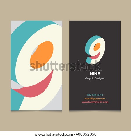 "Logo number ""9"", with business card template. Vector graphic design elements for company logo. - stock vector"