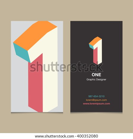 "Logo number ""1"", with business card template. Vector graphic design elements for company logo. - stock vector"