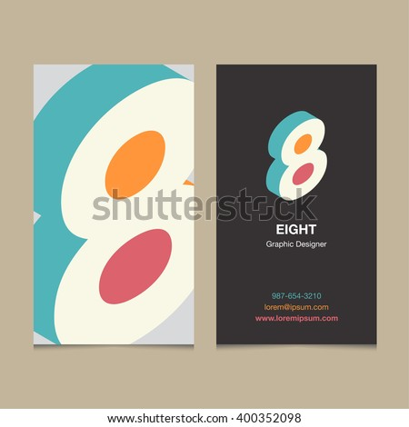 "Logo number ""8"", with business card template. Vector graphic design elements for company logo. - stock vector"