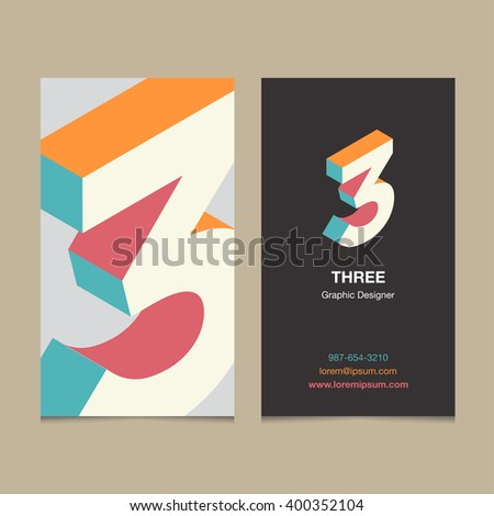 "Logo number ""3"", with business card template. Vector graphic design elements for company logo. - stock vector"