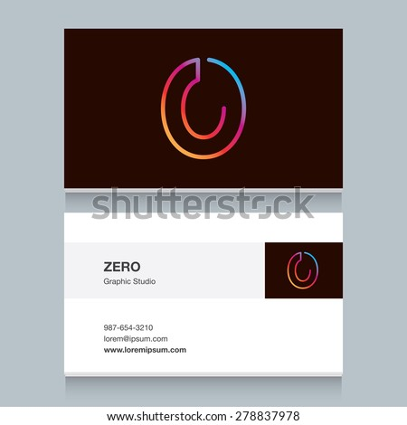 "Logo number zero ""0"", with business card template. Vector design fully editable.  - stock vector"