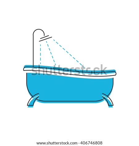 Logo of bath. Bathroom shower vector icon - stock vector