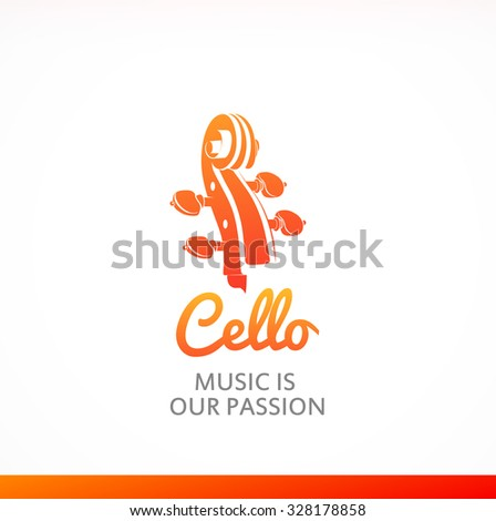Logo of Cello with peghead in orange color. Style colorful vector illustration. - stock vector
