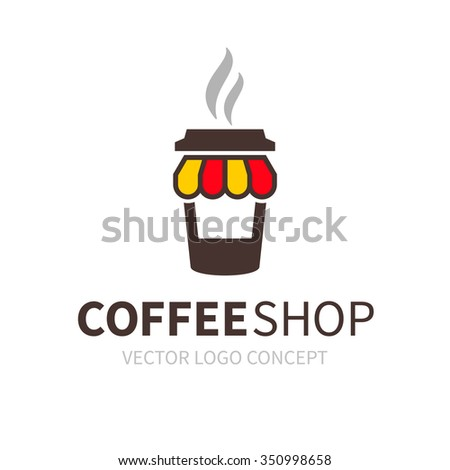 Logo of coffee shop. Kiosk in form of coffee cup - stock vector