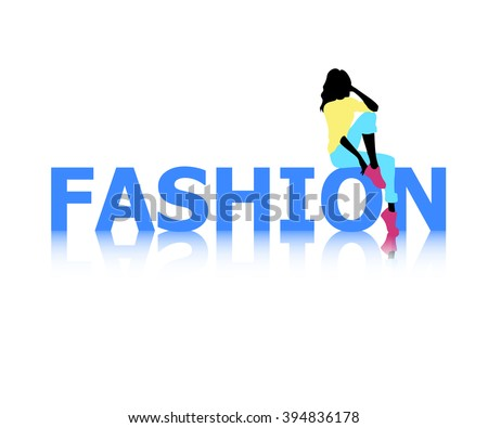 Logo of fashion with female silhouette - stock vector