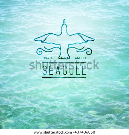 logo of seagull and waves, vector template for travel agency - stock vector