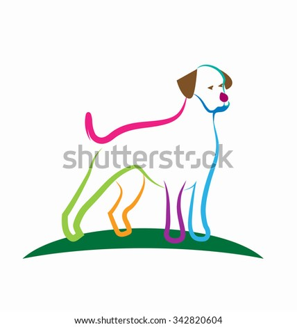Logo of stylized colorful dog vector background - stock vector