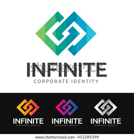 Logo of 2 stylized squares in synergy (infinity symbol). This logo is suitable for many purpose as corporate identity, marketing firm, investment and funds services and more. - stock vector