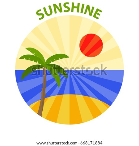 Logo of sunshine. Palm against the setting sun and the sea. Flat design, vector illustration, vector.
