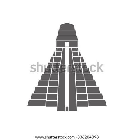 Logo of the typical pyramid of the Mayan culture. logo vector. icon template. - stock vector