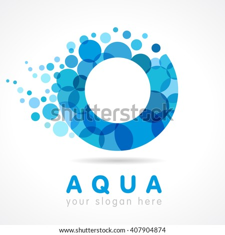 Logo of tourism, resort or hotel by the sea in letter O bubbles. Aqua O logo - stock vector