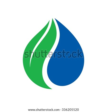 logo of water drop and leaf. vector logo. icon template. - stock vector
