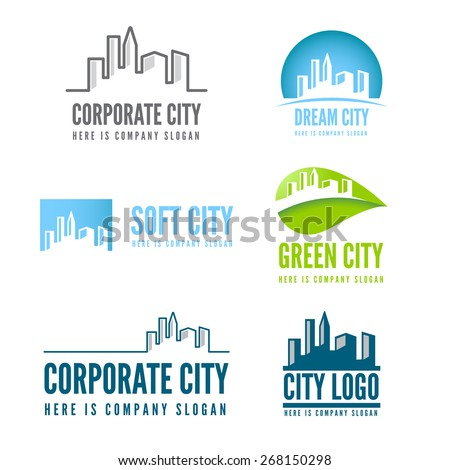Logo or badge, label, logotype elements with buildings for web, business or other projects - stock vector