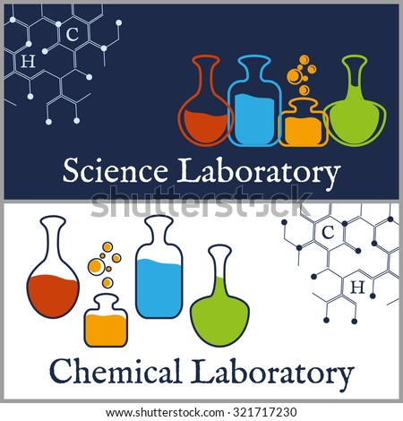 Logo or banner design template for science or chemical laboratory. - stock vector