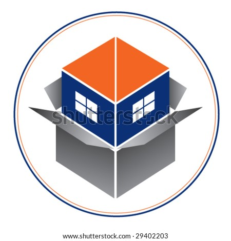 Logo or icon for real estate or home building business 1. Blue house with orange roof emerging from a box. Please, see another version. - stock vector