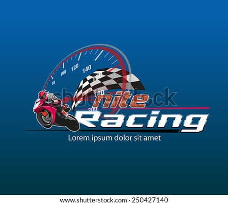 logo or icon of motor racing at night - stock vector