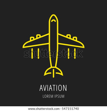 logo or label aviation. Line style logotype. Easy to use business template. Vector abstract sign or emblem.