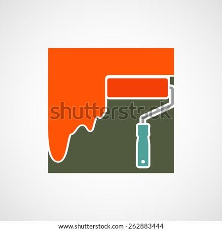 Logo paint roller. Vector image. - stock vector