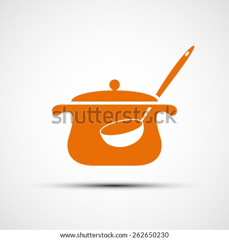 Logo pan with a ladle. Vector image. - stock vector
