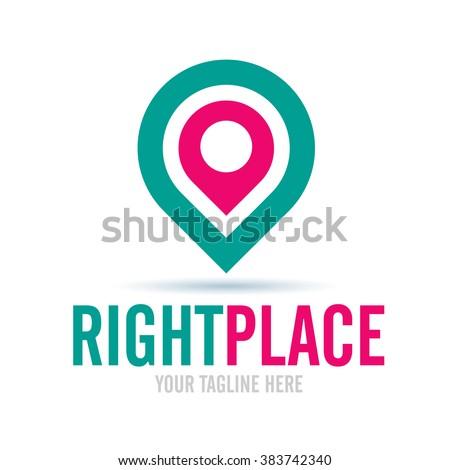 Logo Right Place Icon Element Template Design Logos - stock vector
