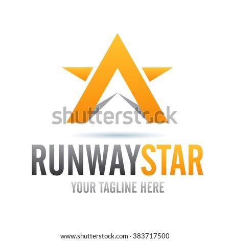 Logo Runway Star Icon Element Template Design Logos - stock vector