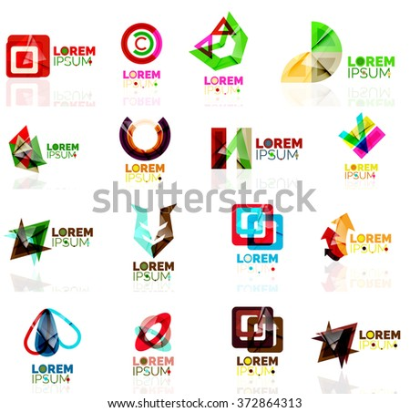 Logo set, abstract geometric business icons, paper style with glossy elements