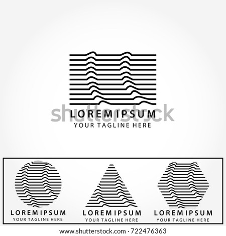 Logo Set Abstract Geometric Minimalist Striped LogosModern Trendy TypesTypography Design