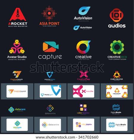 logo set,logo collection,business card template,abstract logo collection,video logo,creative logo design full vector logo template. - stock vector