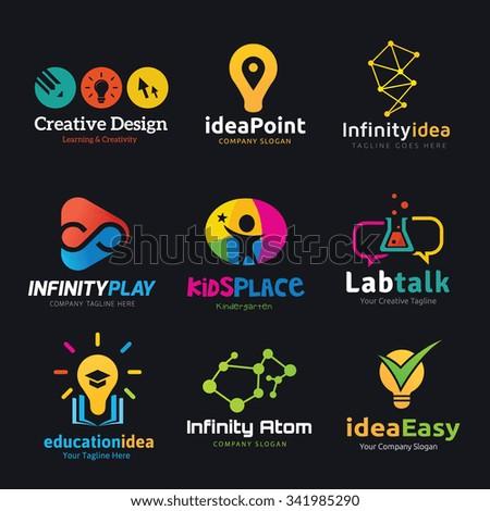 Logo set,Logo collection,creative logo set,idea,kids,marketing logo,education logo,green and ecology logo,people logo,vector logo template - stock vector