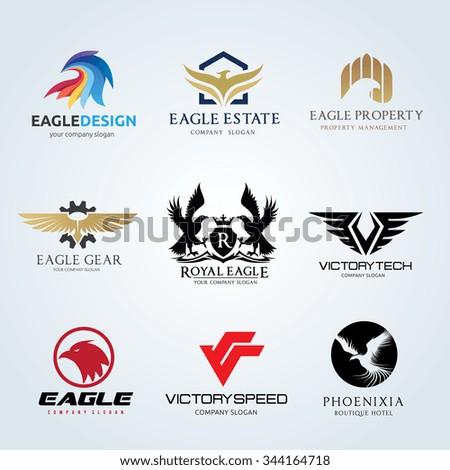 Logo set,logo collection,eagle logo set,phoenix logo,bird logo,vector logo template - stock vector