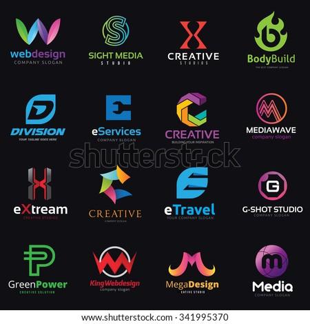 logo set,logo collection,logo template,letter logo,creative logo,media logo,vector logo template - stock vector