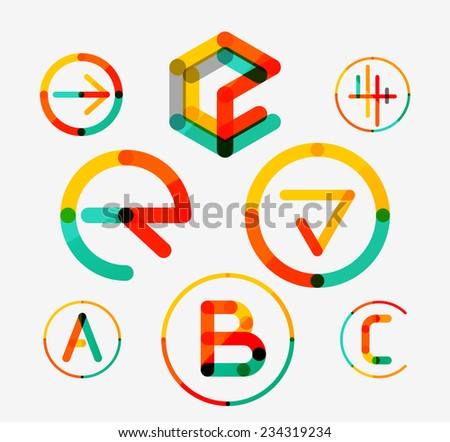 Logo set thin line clean style - business icons, branding emblems - stock vector