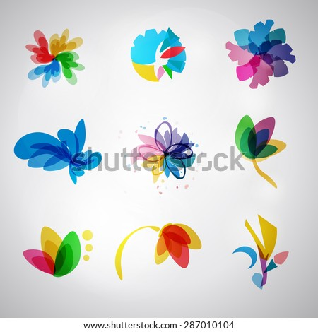 Logo Set. Vector. Abstract SPA Health beauty logo template. Abstract flower. Business abstract icon. As sign, symbol, web, label. logo. Vector illustration. - stock vector