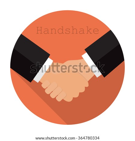 Logo shaking hands in a flat  style - stock vector