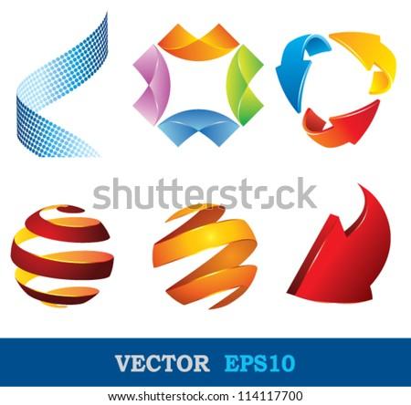 logo shape set, 3d style. - stock vector