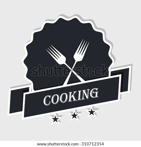 Logo shows two holders representing a restaurant. Star quality. vector