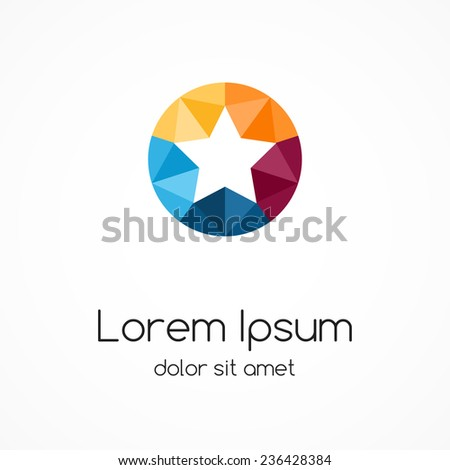 Logo star template. Abstract circle color creative sign, symbol with 5 parts. - stock vector