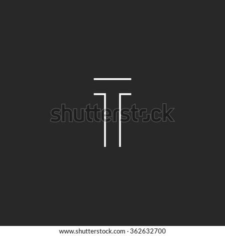 Logo T letter monogram mockup, simple line style symbol, hipster black and white minimalism geometric shape - stock vector