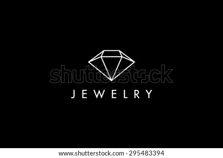 Logo template jewelry, diamond, golden, jewellery fashion, luxury, stylish, crystal, brand, branding, company, corporate, identity, logotype. Clean, modern and elegant style design - stock vector
