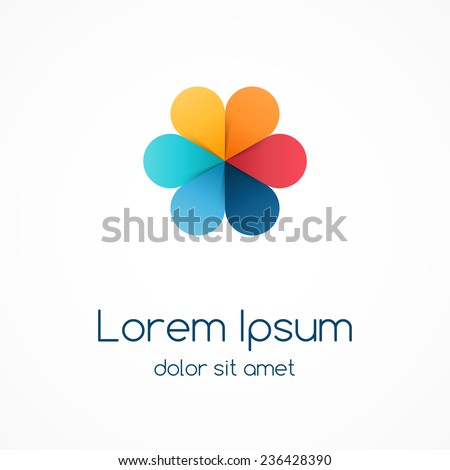 Logo template with color leaves. Abstract circle creative sign, symbol with 6 parts. - stock vector
