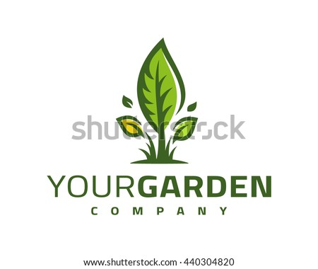 Logo template with the image of the green leaf. For landscaping, ecological company, garden, farm, greenhouse