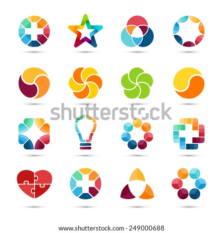 Logo templates set. Abstract circle creative signs and symbols. Circles, plus signs, heart, star, triangle, hexagons and other design elements. - stock vector