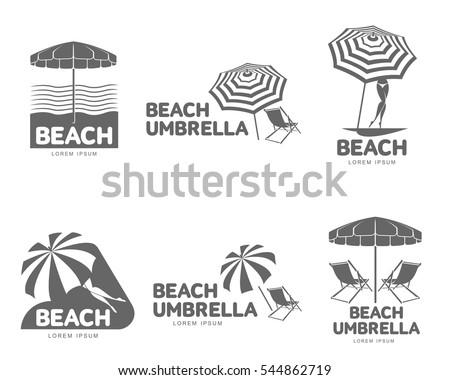 Logo Templates Beach Umbrella Sun Bathing Stock Vector 544862719 ...