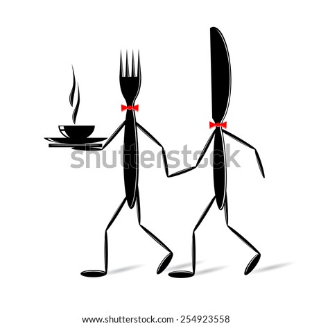 logo. The fork and a knife go with hot food - stock vector